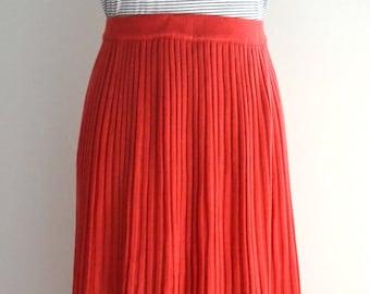 Vintage red pleated midi skirt