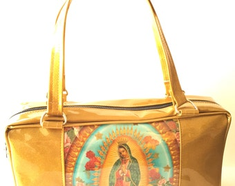 Gold Virgin of Guadalupe Business Bag Purse, Sparkle Glitter Auto Upholstery Vinyl, Retro Shoulder Bag Tote