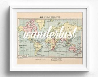 Wanderlust, Printable Map, Travel Theme Nursery, Map Decor, Vintage Map Decor, Map Print, Map Wall Art, Adventure Theme, Nursery Map,Map Art