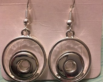 Trendy New Silver 12mm Dangling Interchangeable Snap Earrings - These Look Great On - Change Out Snap to Match Any Outfit!