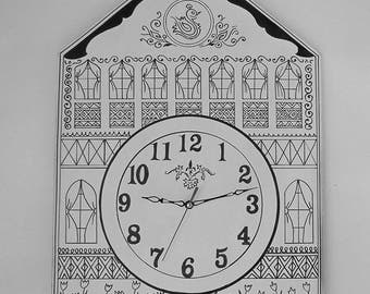 Hand painted black and white wall clock Graphics motifs wall clock