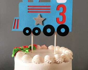 Train Cake Topper, Train decoration, Choo Choo, Train Birthday, Train party, Red Train, Blue Train