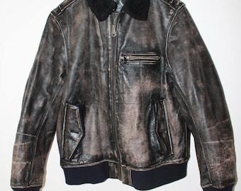 Vintage GAP leather distressed Sherling collar brown jacket size L