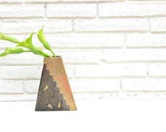 Vintage Brass Triangle Shaped Vase Geometric Pyramid Mid Century Modern Brass Textured Vase