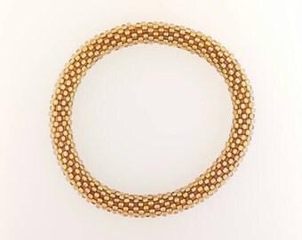 Bead Crochet Bracelet - Gold