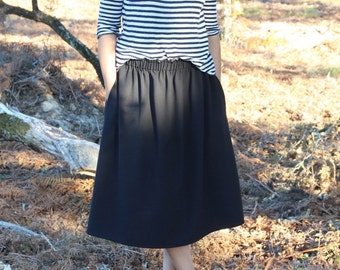 Skirt woman, skirt noon, black skirt, black skirt with pockets, elastic waist skirt