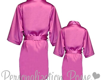 Bridesmaid Robe, Bridal Party Robe, Bridesmaid Gift, Embroidered Orchid Satin Robe, Personalized Robe, Satin Bathrobe, Plus Size Robe, SALE