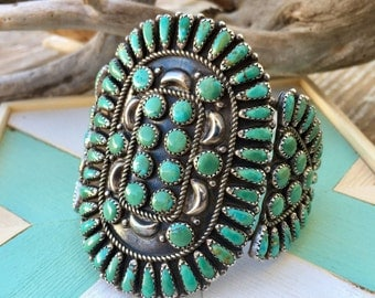 Large Turquoise Cuff | Sterling Silver Cuff | Old Turquoise Jewelry | Bohemian Jewelry | Antique Jewelry | Statement cuffs | Western cuffs