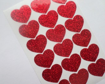 18 Red Glitter Heart sticker Glitter stickers Heart decal Vinyl Wall Stickers Scrapbooking Envelope seal Wedding seals