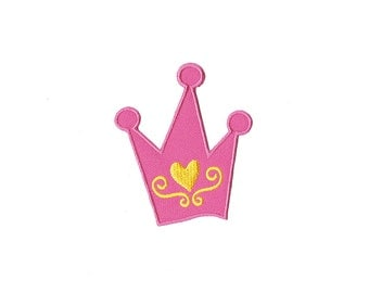 Crown Patch -  Pink  Crown Embroidered Iron on Patch -  Crown  Iron on Applique