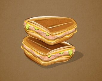 Cuban Sandwich - Illustration Print - 8x10 11x14