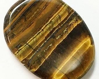 Natural Tigers Eye Palm Stone - Worry Stone, Thumb Stone, Chakra, Crystal Healing