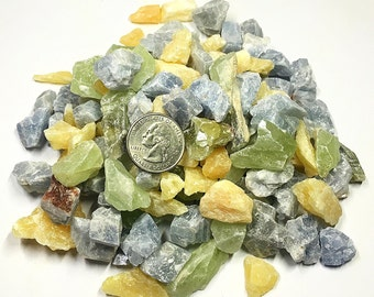 One Pound Small Rough Natural Assorted Calcite Crystals from Mexico - Chakra, Reiki, Crystal Healing, Crafts, Jewelry