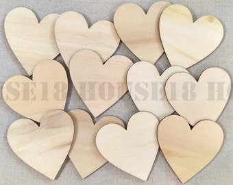 100 PCS Wood Heart Laser Cut Wooden Heart Rustic Wedding Country Wedding Bridal Shower Decorations | Blank
