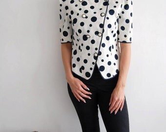 Vintage 80s Black & White Polka Dot Jacket UK 12/14