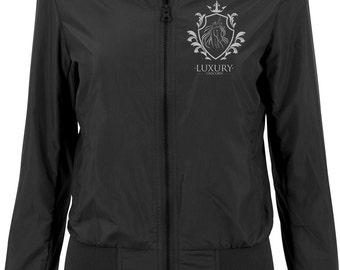 Ladies nylon bomber jacket women's jacket black luxury Unicorn Unicorn