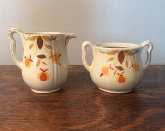Jewel Tea - Autumn Leaf Rayed Style Sugar and Creamer