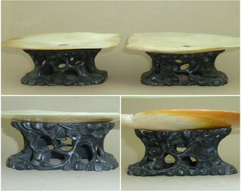 Pair Chinese Carved Hardwood Stands MOP Gold Lip Shell Mother of Pearl Tazza Dish Antique