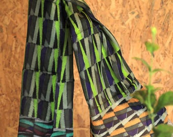 Silk Multicoloured Blue Green Purple Grey YellowBlack Scarf/Unique/Fashionable/Reasonable Evergreen Gift ForHer/SpringSummer Scarf/Must Have