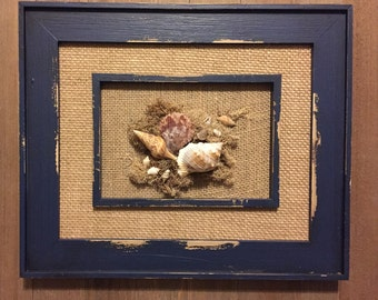 SALE***** Framed Shell Art, Wall Art, Shelf Art, Beach Decor, Beach Lover, Shells