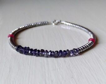 Iolite bracelet, ruby washers, minimalist bracelet, semi-precious stone bracelet, silver stone