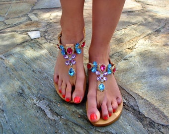"""FREE SHIPPING Crystal Sandals """"Persephone""""/ Sparkly T strap Sandals / Greek Leather Sandals / Bridal Sandals / Bidesmaids Wedding Sandals"""