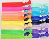 100 Hair Ties, GRAB BAG, Handmade Hair Ties, Wholesale, Ponytail Holders, Knotted, Trendy, Hair Bands, LuLaRoe Hair Ties, Fold Over Elastic