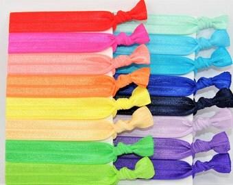 Bulk Hair Ties, 100+ Hair Ties - GRAB BAG - Handmade Hair Ties - Wholesale - Ponytail Holders - FOE - Hair Bands - Fold Over Elastic
