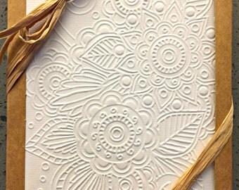 Mandala Embossed Greeting Cards - 10 Pack