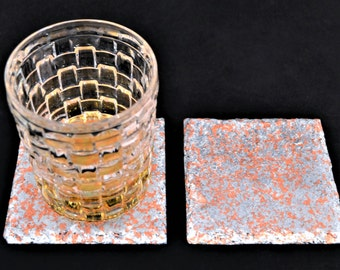silver plated 2 set glass coasters and slate finished with sheet copper,