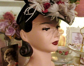 Original Vintage 1940's 30s Toy Tilt Perch Hat Dita Von Teese Feather Topper Floral WW2 Art Deco Wartime   Reenactmet Goodwood Fashion