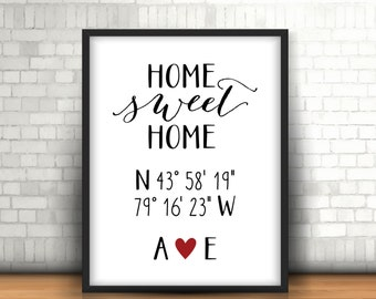Home Sweet Home with Custom Coordinates & Initials, Custom Home Sweet Home Print,  Housewarming Gift, Wedding/Bridal Shower Gift - (D066)