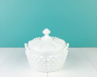 Vintage 1970s Fenton Hobnail Crown Candy Dish