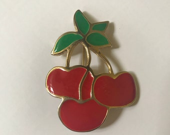 Vintage Cherry Brooch, Gold Tone, Red Enamel
