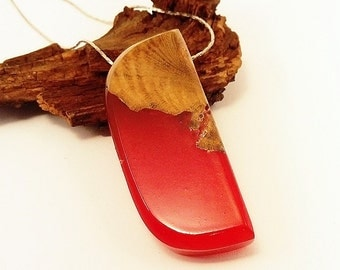 Wood and resin necklace Red resin necklace epoxy resin resin jewelry wood necklace womens gift resin pendant