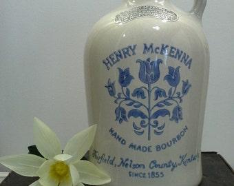 Vintage Henry McKenna Kentucky Whiskey Stoneware Crock; Half Gallon Jug with Foil Label