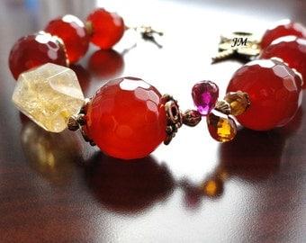 Carnelian Citrine bracelet Women bracelet Birthday gift for her Bead bracelet Gemstone jewelry Beaded Gemstone bracelet birthstone Jm