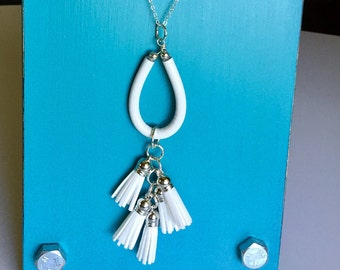 White Tassel Necklace/ Five white tassels with silver accents/ boho chic/ long chain/ TVCableJewelrybyML/ handmade with care/ gift for her