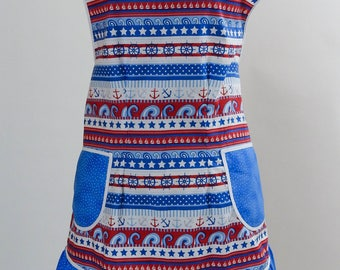 Vintage Style Apron-Nautical Anchors Theme with Blue Accent-Full Coverage-Figure Flattering Design-Bottom Ruffle-Lined Pockets-White Trim