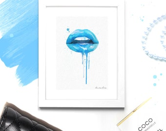 Fashion Wall Art - Blue Lips - Chanel Lipstick - Fashion Print & Illustration - Canvas Art Poster -  Fashion Wall Decor - Chic Decor