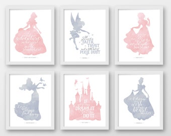 Disney wall art, Set of 6, PRINTABLE, Disney quotes, Pink, Grey, Dumbo, Beauty and the Beast, Nursery, Princess quotes, Baby, Belle, Elsa