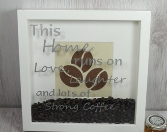 Handmade Customised This Home Runs on Coffee Framed Gift, by The Happy Hive Co.