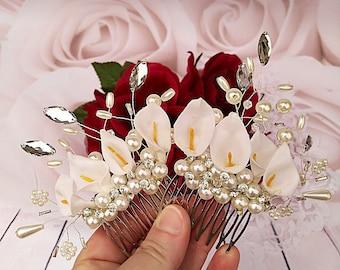 Bridal comb, bridal hair accessory, bridal hair pins, bridal hairstyle, bridal headdress, pearls comb, bride accessory, crystal comb