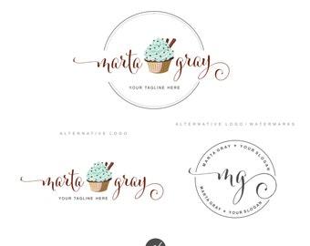 Cupcake logo design, Bakery Branding Kit, Logo Set, Blog logo, Watermark, Cakery Marketing, Logo Design Stamp, Dessert Logo Logo package, 64