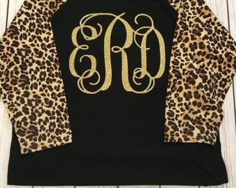Leopard Print Baseball Tee with Monogram or Custom Design