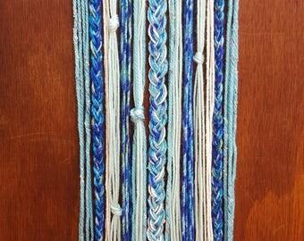 Boho Wall Hanging - Shades of blue and cream - Rustic wall decor - Bohemian decor - Bohemian wall art - Bow holder -Bow organizer -Boho baby