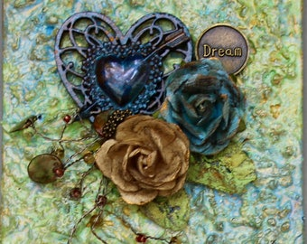 Mixed Media Heart Art - Dream Assemblage Art - 3D Wall Art - Original Collage - Hearts and Roses Canvas - Found Objects - Dream Canvas