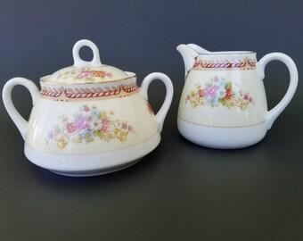 R C ~ Noritake ~ Creamer and Sugar Bowl ~  Japanese Porcelain