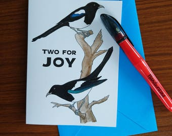 Two for joy - or so the old English proverb goes. Two lucky magpies to bring luck, or to celebrate the birth of twins.