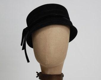 Pillbox, 1950's Inspired Hat, Women's Felt Hat, Black Felt Hat, Vintage Look